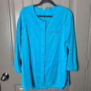 Soft Surroundings Blue Tencel Button Down shirt